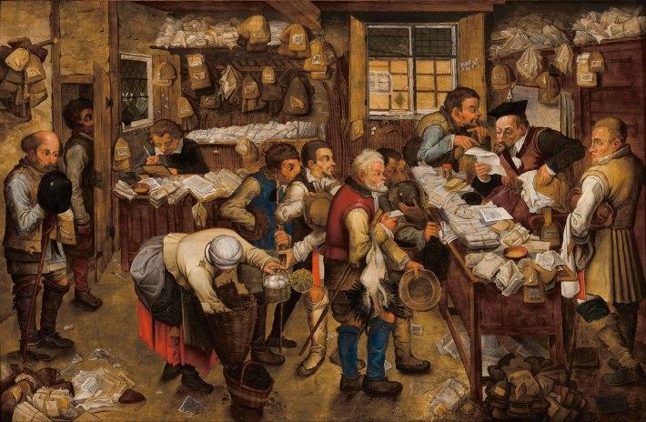 La oficina del recaudador de impuestos. (Pieter Brueghel el Joven, c. 1615)